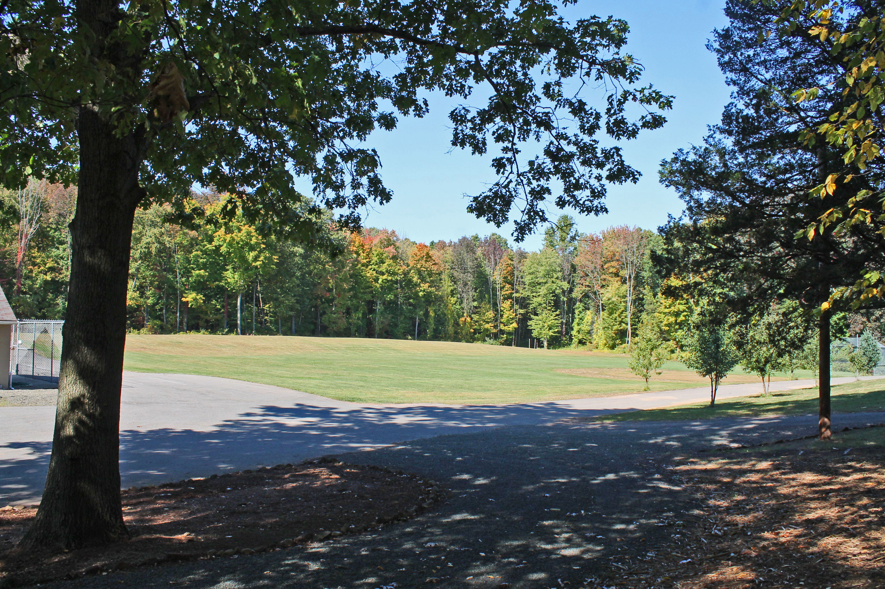 A view of the playing field from the drop off/pick up area.