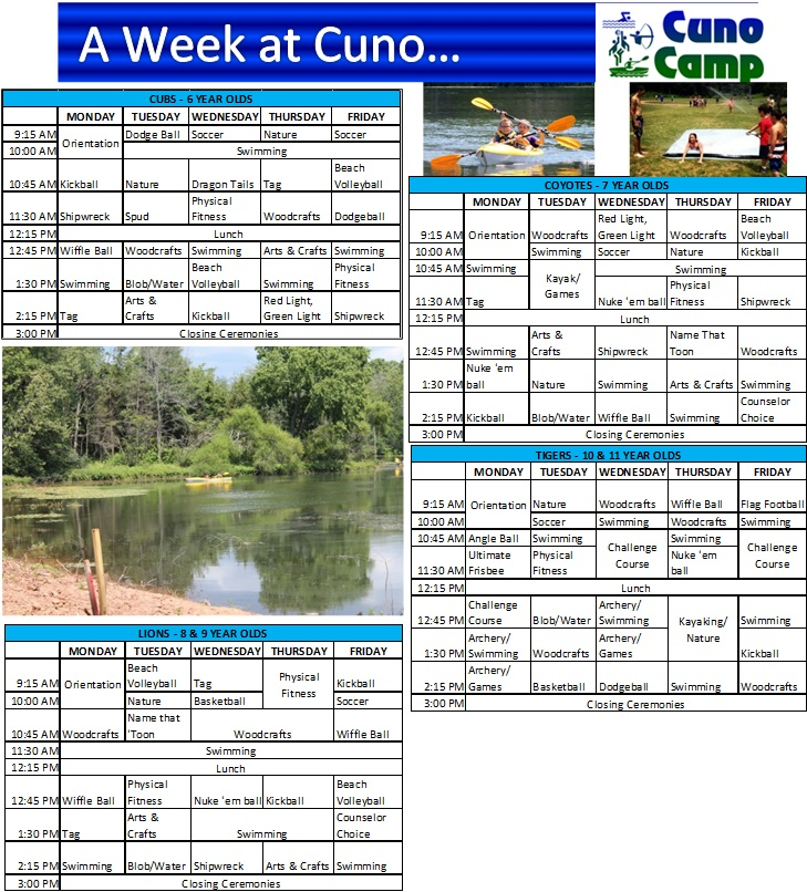 Camp Cuno Sample weekly schedule